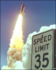 Space shuttle blasts off, AP