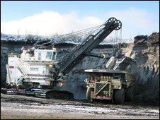 Digger at the Muskeg River mine in Alberta, Canada