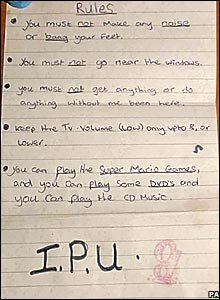 Note with rules for Shannon