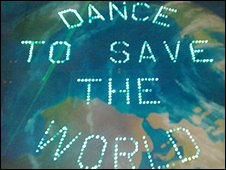Dancefloor neon Earth graphic
