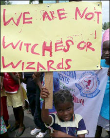 "Children protest against accusations they are ""witches"" [photo courtesy of red rebel films and stepping stones nigeria]"