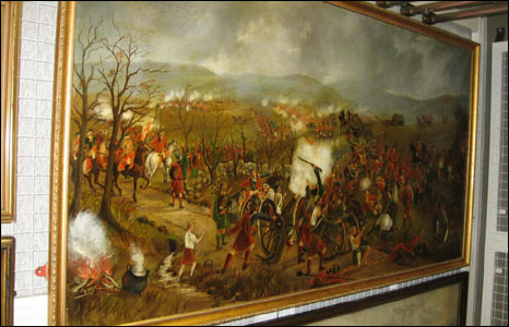 A depiction of the Battle of Culloden painted on a piece of linolium