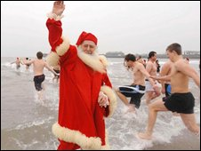 Christmas Day swim at Porthcawl
