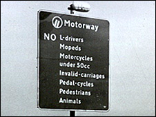 Sign spelling out motorway rules