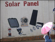 Wall in Kigali street advertising solar panels (Credit: Penny Dale)
