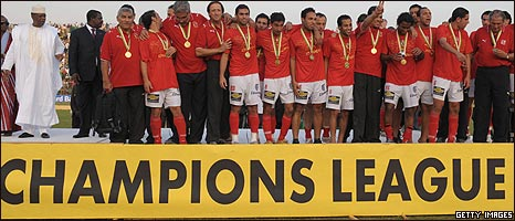 Al Ahly celebrate their Champions League win in Garoua, Cameroon