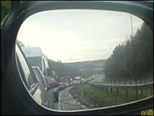 Traffic on A40 in Carmarthenshire