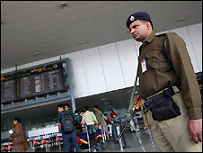 Security guard at Delhi's Indira Gandhi International (IGI) Airport