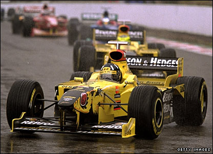 Damon Hill wins the Belgian Grand Prix in a Jordan Mugen Honda in 1998