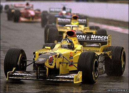 Damon Hill wins the Belgian Grand Prix in a Jordan Mugen Honda in 1998
