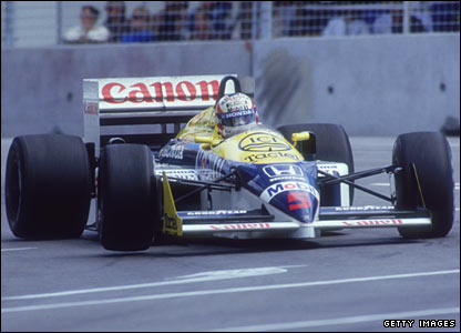 Nigel Mansell in action for Williams Honda
