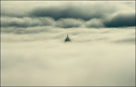 Wallace Monument in fog