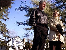 File photo (2000) Bill and Hillary Clinton in the grounds of their house in Chappaqua, New York State