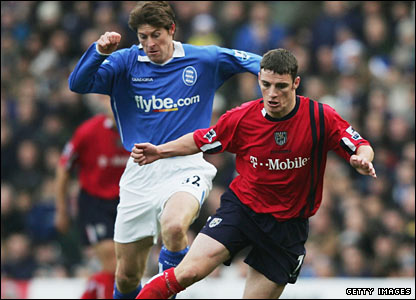 Anderton in action for Birmingham against Jason Koumas of West Bromwich Albion