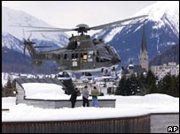 Helicopter arrives at Davos