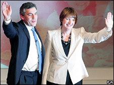 Gordon Brown and Harriet Harman at the Labour leadership conference