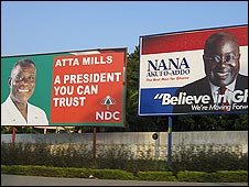 Election posters of John Atta Mills and Nana Akufo-Addo