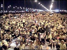 Anti-government protestors block Suvarnabhumi airport in Bangkok as the protests begin