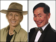Martina Navratilova and George Takei