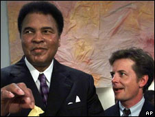 Boxing great Muhammad Ali and Hollywood actor Michael J Fox pictured in 2000
