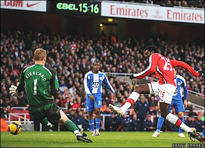 Chris Kirkland, Wigan Athletic; Emmanuel Adebayor, Arsenal