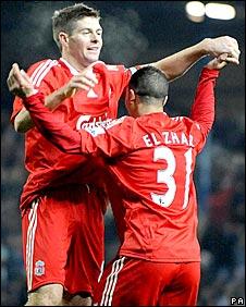 Steven Gerrard and Nabil El Zhar celebrate