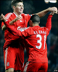 Steven Gerrard and Nabil El Zhar celebrate