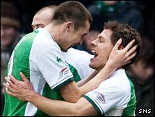 Colin Nish and John Rankin celebrate against Celtic