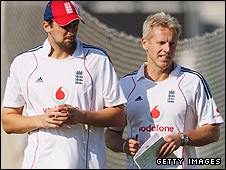 Fast bowler Steve Harmison (left) and coach Peter Moores