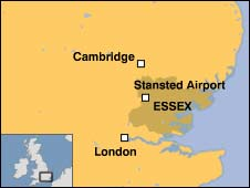 Map showing Stansted Airport