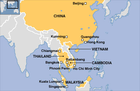 Map shows China and South East Asia