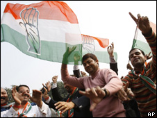 Congress supporters in Delhi