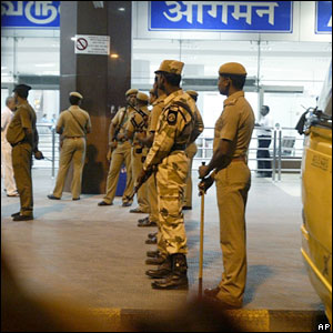 Armed guards patrol outside Chennai airport