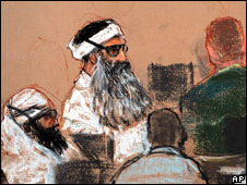 Artist's sketch of 9/11 suspects in court. Khalid Sheikh Mohammed is centre (8 December 2008)