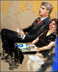 Artist's sketch of relatives of 9/11 victims sit in court (8 December 2008)