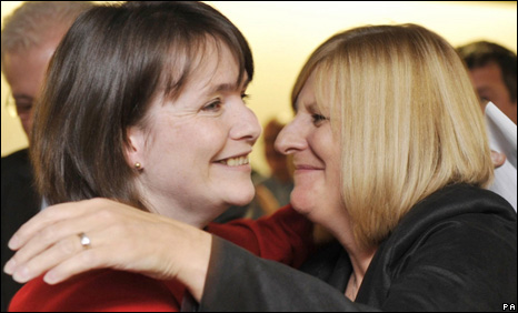 Kirsty Williams, congratulated by Veronica German, from her campaign team