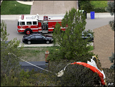 The pilot's parachute got caught in a nearby tree (8 December 2008)