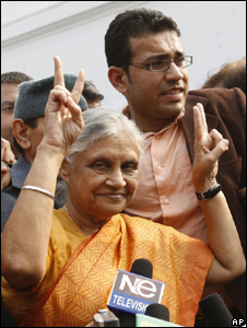 Delhi state Chief Minister Sheila Dikshit after her win