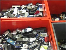 Boxes of old mobiles