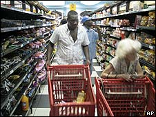 Goods in a Zimbabwean supermarket are priced in foreign currency