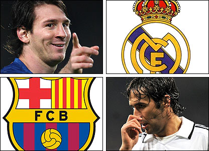 Left: Barcelona's Lionel Messi; Right: Real Madrid's Raul