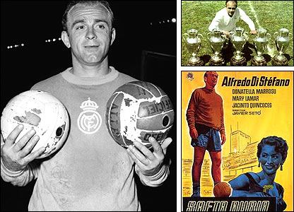 Real Madrid legend Alfredo di Stefano; top right with his five European Cups; bottom right - Di Stefano starred in a film 'Saeta Rubia' which was his nickname (Blond Arrow)