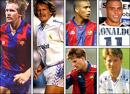 The defectors: Bernd Schuster (left); Ronaldo (top right); Michael Laudrup (bottom right)