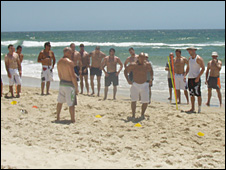 The Crusaders train in the sun at the Gold Coast in their pre-season camp