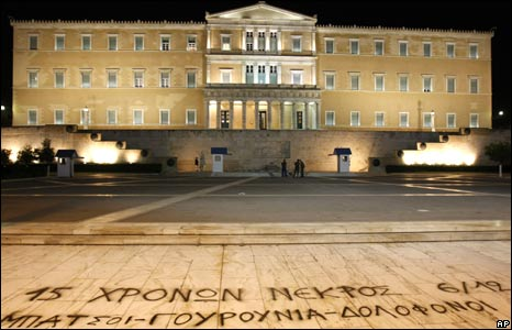 "A slogan spray-painted in front of Greece's parliament reads: ""A 15-year-old is dead. Cops, Pigs, Murderers."" 9/12/2008"