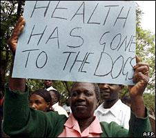A demonstrating nurse in Zimbabwe