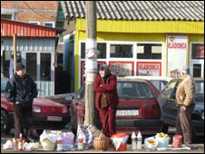 Street vendors in Pristina