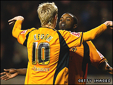 Andy Keogh and Sylvan Ebanks-Blake celebrate