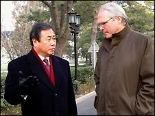 South Korean envoy Kim Sook (L) and US envoy Christopher Hill in Beijing - 9/12/2008