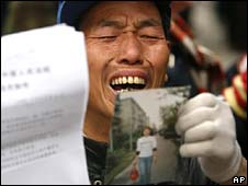 Protester outside foreign ministry in Beijing - file image